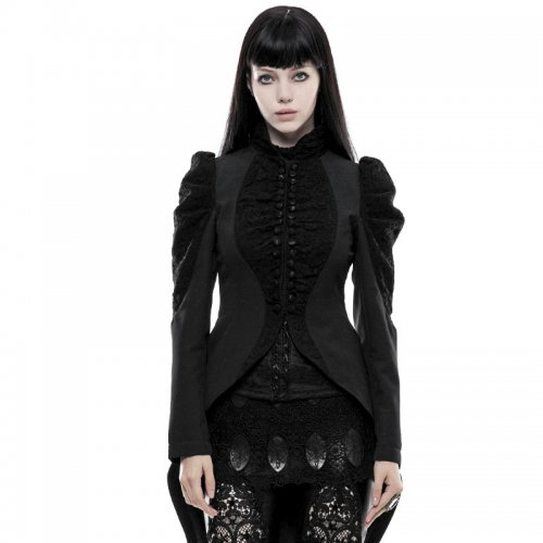 Gothic Gorgeous vintage women's long coat black