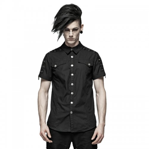 Steampunk Short Sleeve metal buckle Men's Shirt