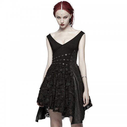 Punk women's black sex Deep V Dress