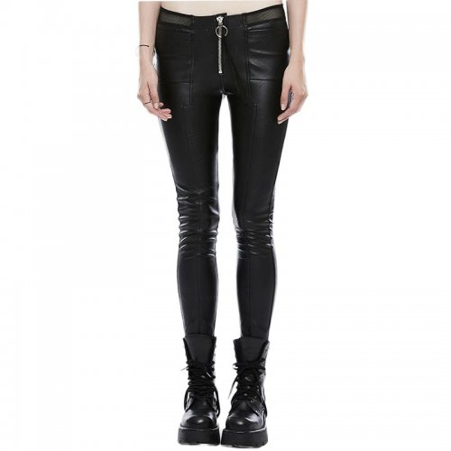 Punk High elasticity PU leather women's Trousers