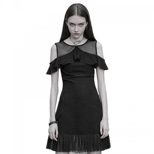 Gothic light Ruffled off-the-shoulder women's dress
