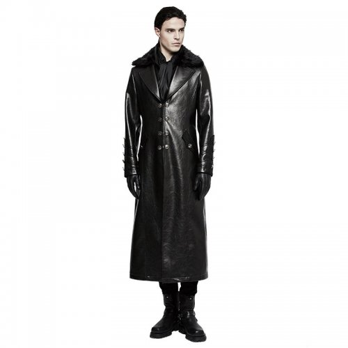 Punk Military Uniform Long PU Leather Men's Coat