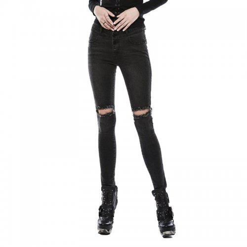 PUNK broken holes slim Women's  trousers