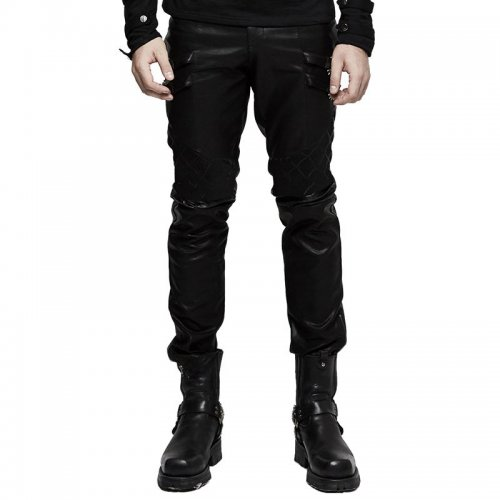 Punk Grid Stitching PU Leather Men's Pants