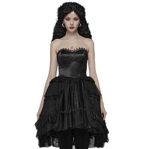 Lolita Asymmetrical lace tube top dress