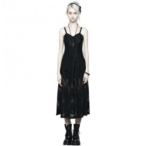 Gothic Dark Lace Strap Heavy Industry Corn Rope Slit Dress