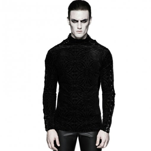 Gorgeous Gothic Long Sleeve Men's T-shirt Black