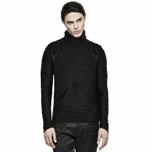 Gothic Stereo Stripe Knitted Men's Black T-shirt
