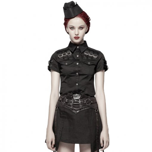 Punk Military Short Sleeve Slim fit Women's Shirt