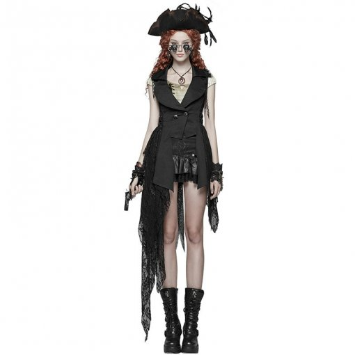 Gothic Dark Asymmetric Women's Vest