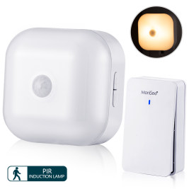 Doorbell Chimer with Plug-in PIR Motion Sensor Dimmable LED Night Light