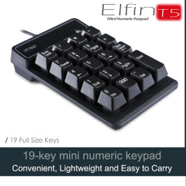 USB Numeric Keypad, ATake Elfin-T5 Portable Mini Number Pad for Laptop Desktop Computer PC, Full Size 19 Key, Plug and Play - Black
