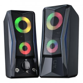 Computer Speakers,Gaming Speaker with Stereo Bass RGB LED Light USB Powered AUX Line-in for PC Desktop Laptop Tablet,Mini Multimedia Speaker (Colored-S3)