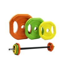 Gym Home Use Women Colorful Small Hole Rubber Coated Barbell Weight