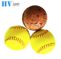 Yellow Official Size 12 Leather Baseball Softball Ball