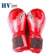 custom flame printed PU leather boxing gloves
