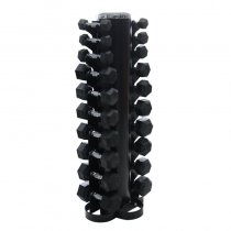 Steel Dumbbell Rack Gym Home Use 10 pairs Hex Rubber Coated Dumbbell Rack