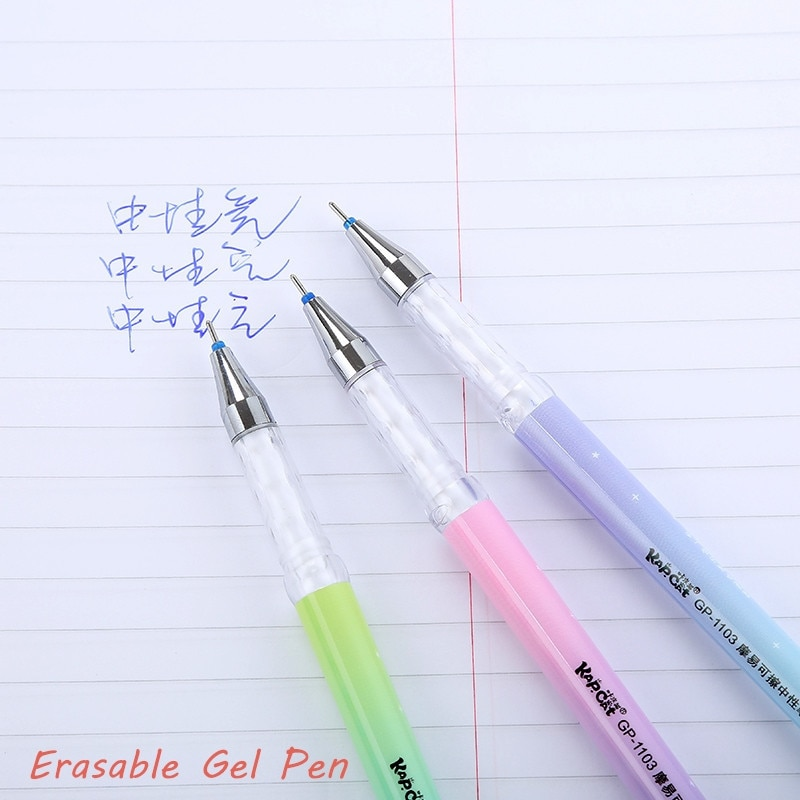 3pcs 0.38mm Kawaii Erasable Pen Black Blue Magic Gel Pen School Office Writing