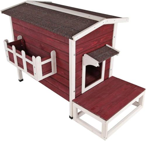Petsfit Weatherproof Outdoor Cat Shelter/House/Condo with Stair 27.5  Lx17.5 Wx20 H