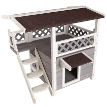 Petsfit 2-Story Outdoor Weatherproof Cat House with Stairs