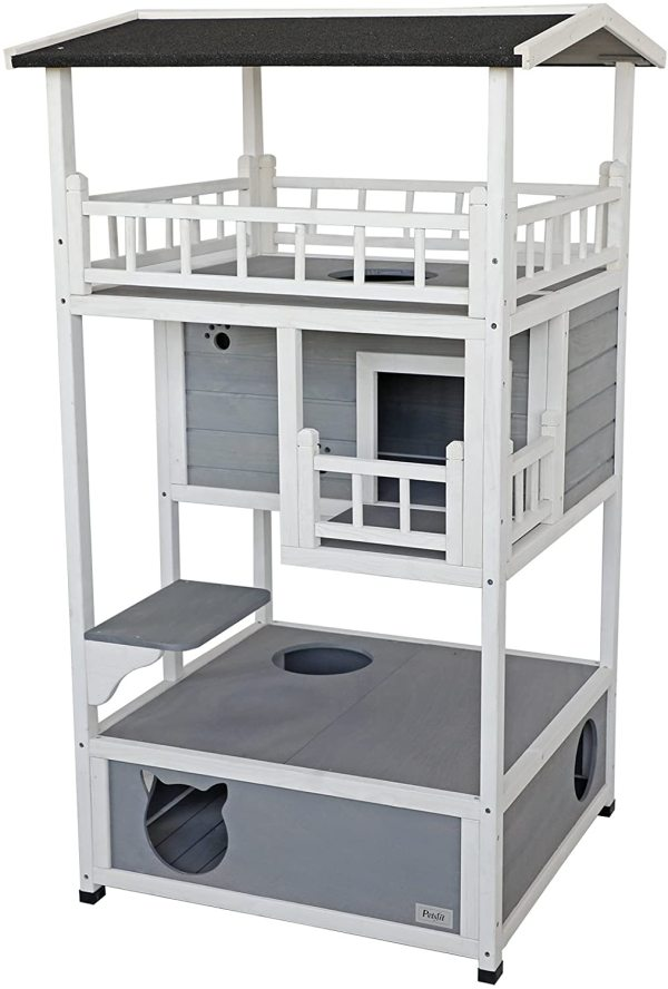 Petsfit Outdoor Weatherproof Cat House, Sturdy and Cute for Play and Hide