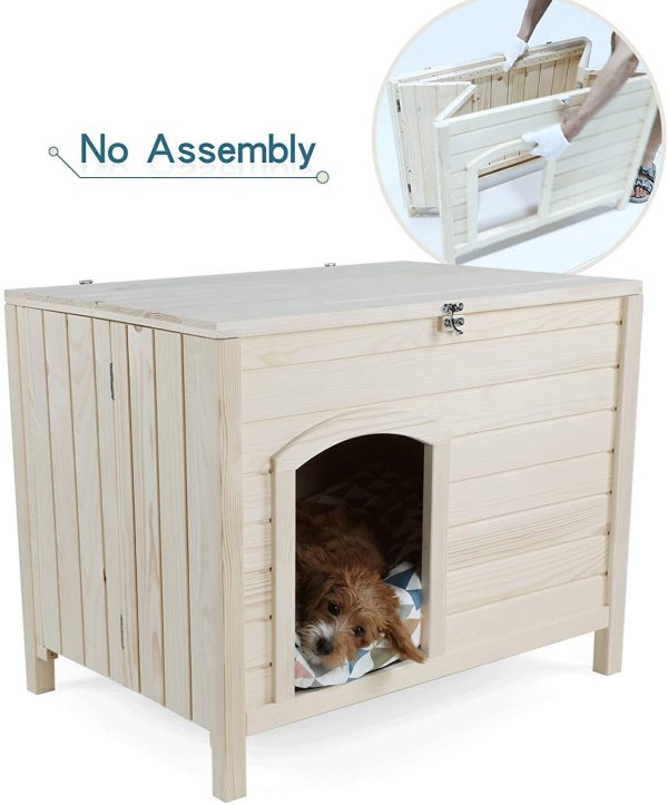 Petsfit Foldable Wooden Dog House, No Assemble Required