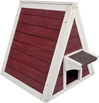 Petsfit Outdoor Triangle Cat House with Escape Door for All Cats (Red)