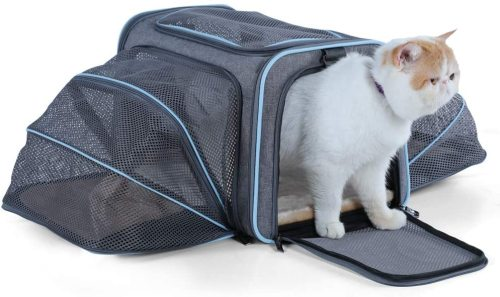 Petsfit 2 Sides Expandable Carrier Light Grey/ Blue