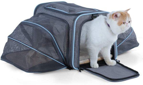 Petsfit 2 Sides Expandable Carrier Light Grey/ Blue