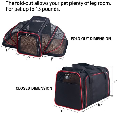 Petsfit 2 Sides Expandable Carrier Black/ Red