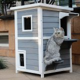 Petsfit 2-Story Weatherproof Outdoor Kitty Cat House/Condo/Shelter with Escape Door