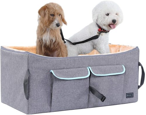 Petsfit Dog Car Seat, Pet Travel Car Booster Seat with Safety Belt, Washable Double-Sided Cushion and Storage Pocket