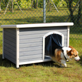 Petsfit Wooden Dog House,Outdoor Pet Kennel, Solid Wood, Weather Proof, Light Grey