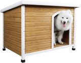 Petsfit Wooden Dog House for Medium to Large Dogs, Yellow and White, large/45.6  x 30.9  x 32.1