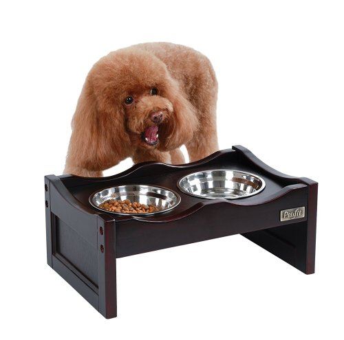 Petsfit Wooden Elevated Dog/Pet/Cat Feeder with 2 Stainless Steel Bowls
