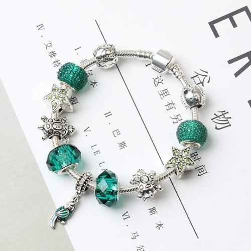 T Fashion DIY Blue Green Crystal Bracelet (COD)
