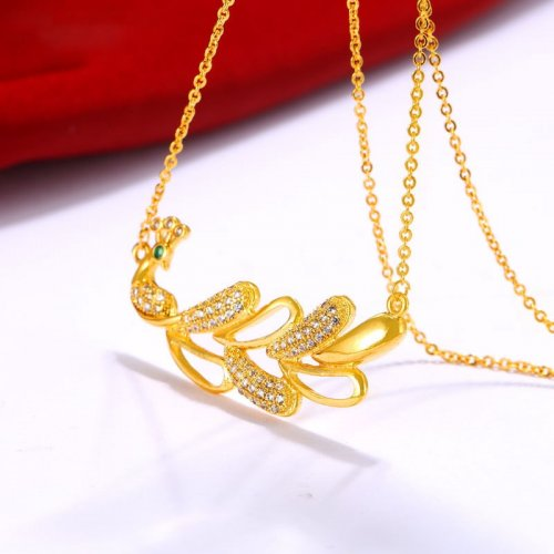 M Peacock Necklace Ladies Gold-plated Clavicle(COD)