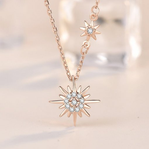 M S925 Silver Rose Gold Sun Necklace(COD)