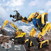CadA 930PCS 2.4G RC Deformation Robot Excavator Assembly Building Block Construction Toys