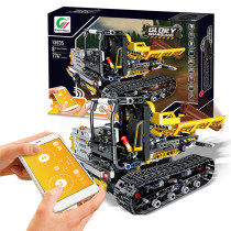 874Pcs 2.4G APP Controlled RC Building Block Engineering Vehicle DIY Assembly Construction Kit (APP / Voice / Gravity Control)