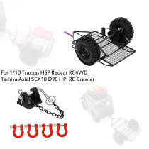 Trailer Car with Front Rear Bumper Tow D-Ring Shackles Trailer Lock for 1/10 Crawler Car