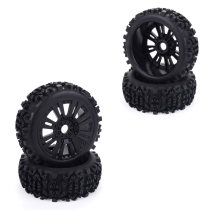 4Pcs 1/8 Off-road Vehicle Deep Gear Tire Car Tire for Redcat Losi VRX HPI Kyosho HSP Carson Hobao - Black