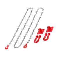 Tow Hook and Trailer Chain Kit for 1/10 Traxxas Axial SCX10 Tamiya CC01 RC4WD D90 D110 TF2 RC Rock Crawler - Red