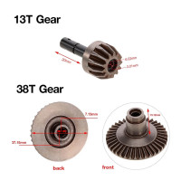 13T 38T Metal Crown Gear Differential Main Gear Combo Set for Front Rear Axle AXIAL SCX10 90021 90022 RC Monster Truck