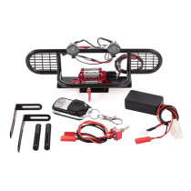 RC Car Metal Bumper Kit with 2 LED Lights Remote Control Winch for TRX-4 RC4WD AXIAL SCX10 RC Car - Red