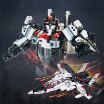 917Pcs MOC 2-in-1 Intelligent Sound and Light Sensing Robot Fighter DIY Small Particle Building Blocks Toy - Double Eagle C51030W