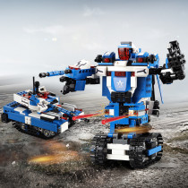 604Pcs MOC 2-in-1 Intelligent Sound and Light Sensing Robot Tank DIY Small Particle Building Blocks Toy - Double Eagle C51038W
