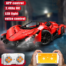 2538Pcs MOC10559 1:8 2.4G RC/APP Control Sports Car RC Roadster Model Puzzle Assembly Toy - Red