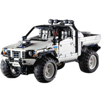 2029Pcs MOC Small Particle Remote Control Rally Racing Off-road Vehicle Pickup Truck DIY Construction Building Kit - White