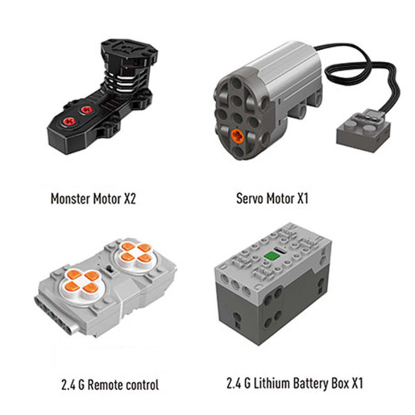 2.4G MOC Building Block Remote Control Motor Power Set for 2943Pcs 1:8 Scale Static Sports Car DIY Construction Model